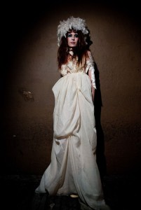 Angellic Wedding Dress with handmade fabric feathers, Size 4 to 6