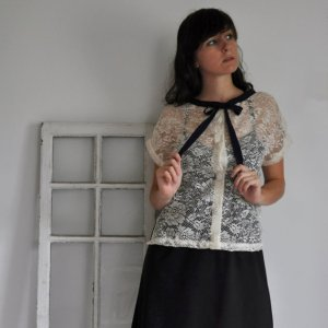 Euphrosine Lace Blouse with Bow Tie and Vintage Buttons XS/S/M/L/XL made to order