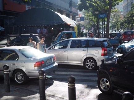 Traffic Congestion Crowding Out People Walking in Bangkok