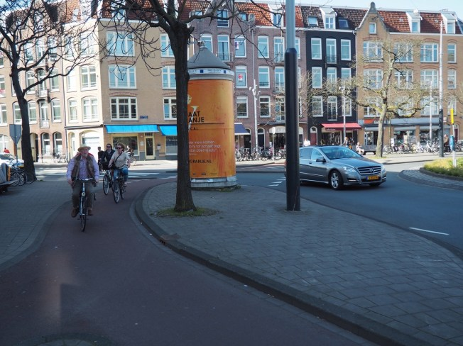A dutch separated intersection built with modular materials
