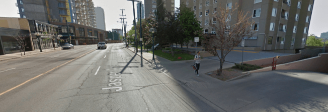 Edmonton's historic street car corridor on Jasper Avenue has many gaps in the street wall next to a high capacity, high volume stroad. This detracts from its ability to keep you feeling safe, interested and comfortable.