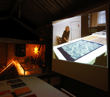 Nicola Cliffe on screen at the Slow Textiles Cinema event (designed, devised and delivered by Emma Neuberg)
