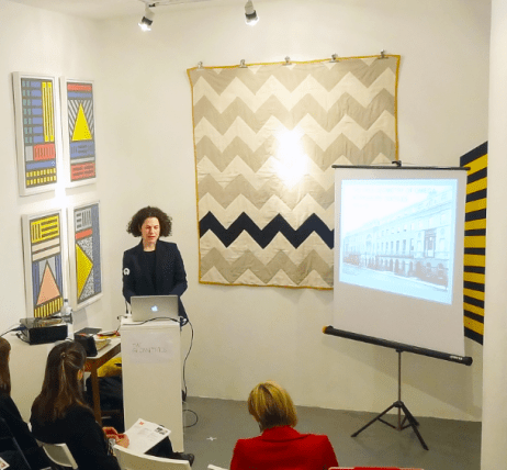 Alexandra Gerstein's Omega Workshops Textiles Talk surrounded by Camille Walala and Katherine May's work, Slow Textiles Group event (designed, devised and delivered by Emma Neuberg)