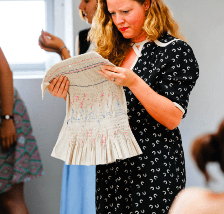 Ptolemy Mann admiring Catherine Harris' smocking at a Slow Textiles Group geometrics event (designed, devised and delivered by Emma Neuberg)