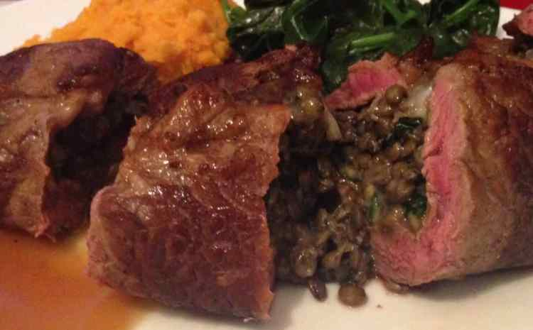 Coffee Marinated Steak Stuffed with Lentils & Blue Cheese