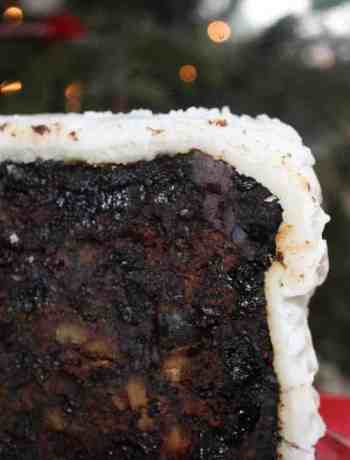 A slice of port and chocolate Christmas cake
