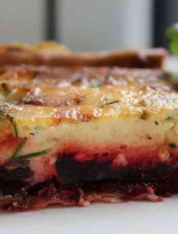 a tasty vegetarian beetroot and gorgonzola tart