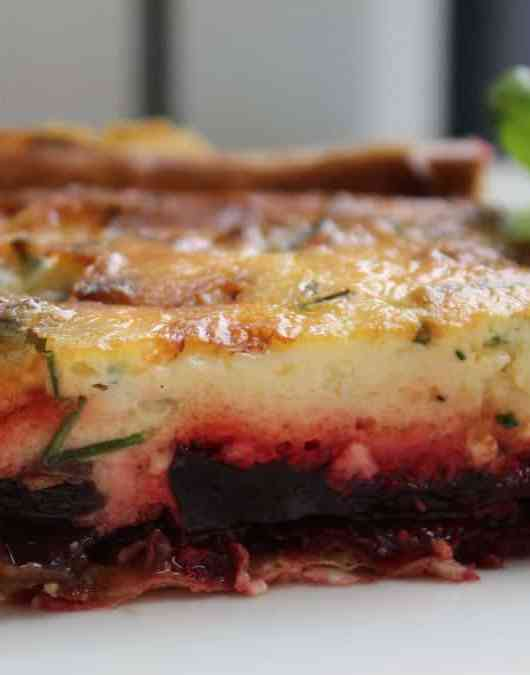 a tasty vegetarian beetroot and gorgonzola tart