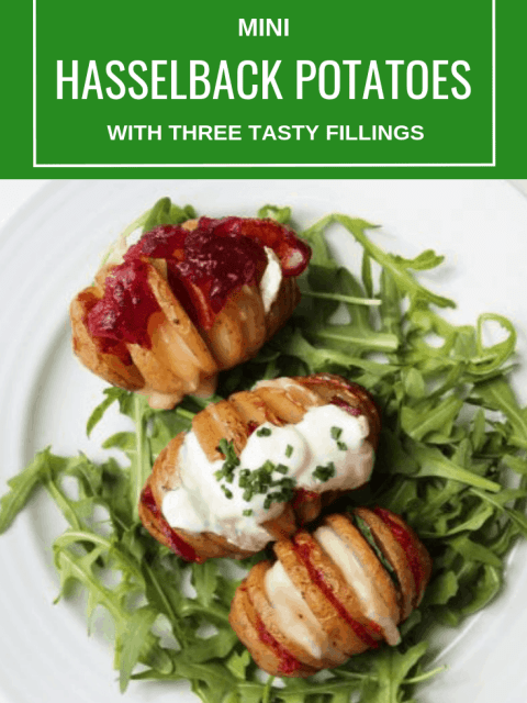 Pinterest image. Top down shot of hasselback potatoes with text overlay