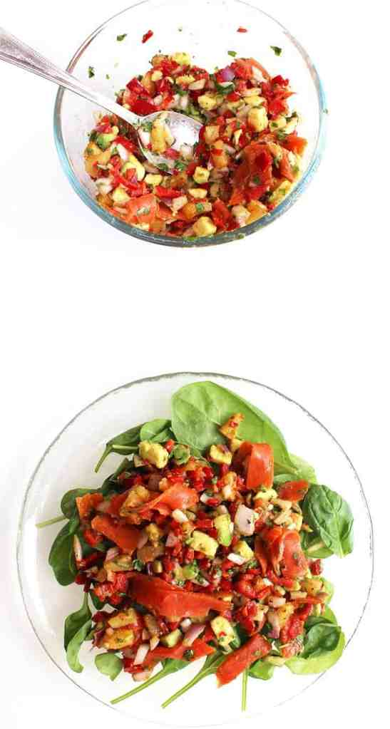 This sweet and spicy pineapple salsa recipe is perfect for a summer starter or side for a BBQ. Topped with smoked salmon, this is a treat for the tastebuds!