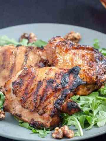 These delicious chicken thighs are glazed in maple and cider. Perfect for thanksgiving, Sunday dinner but also super easy for a weeknight meal!