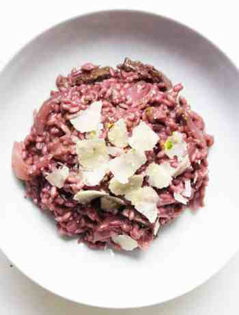 Red Wine Risotto with Steak and Topped With Parmesan