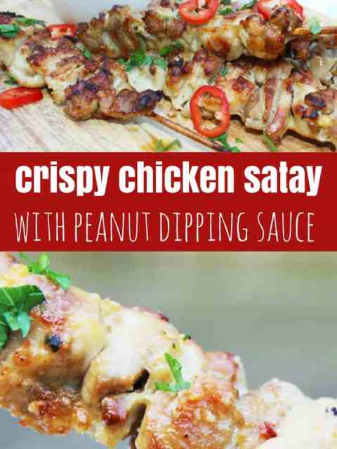 Chicken Satay with peanut sauce pinterest image. Chicken satey on skewers and close up of it being dipped into the peanut sauce