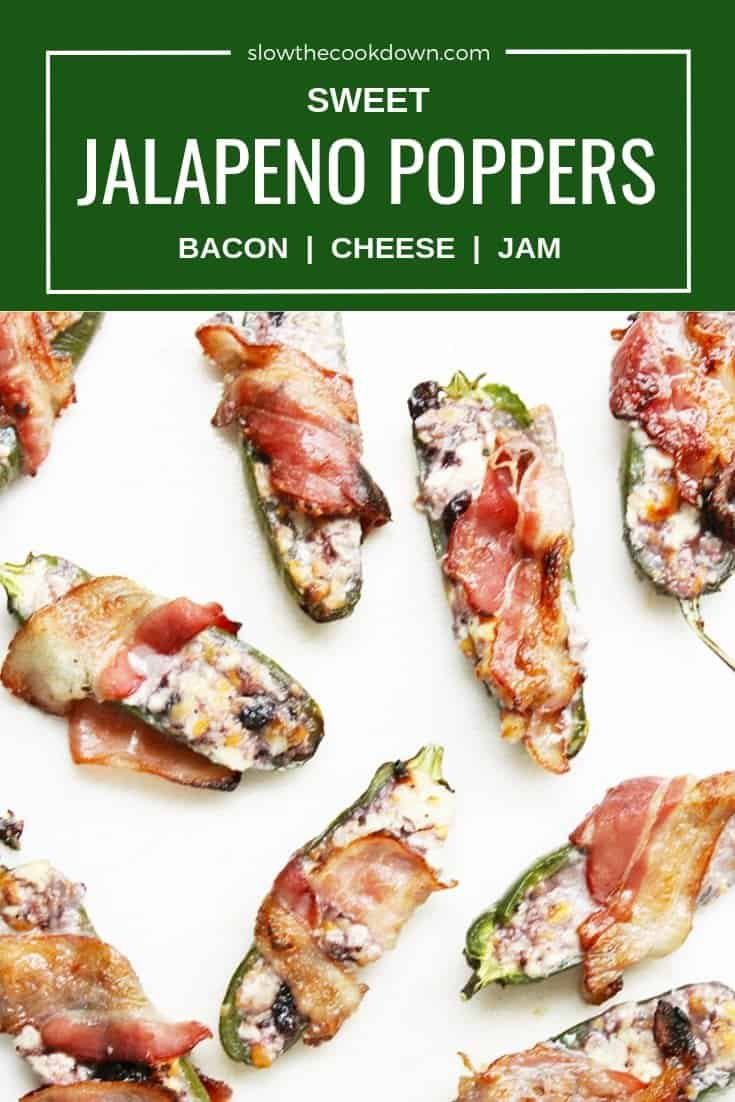 Pinterest image. Jalapeno poppers on a white background with text overlay
