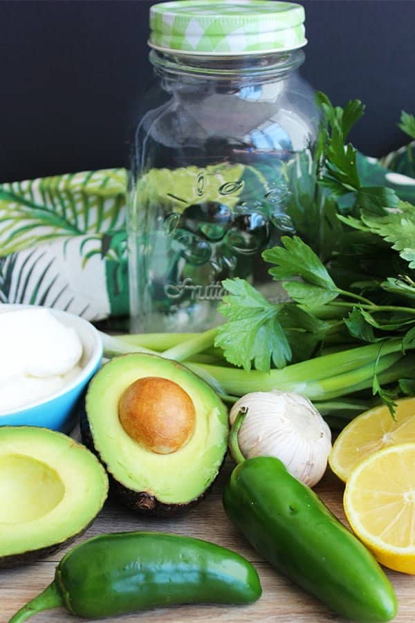 fresh ingredients for a green salad dressing