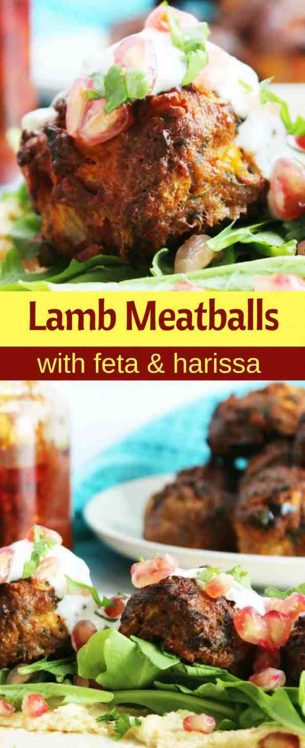 Pinterest collage for lamb meatballs