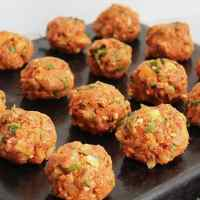 Uncooked lamb meatballs ready to be cooked