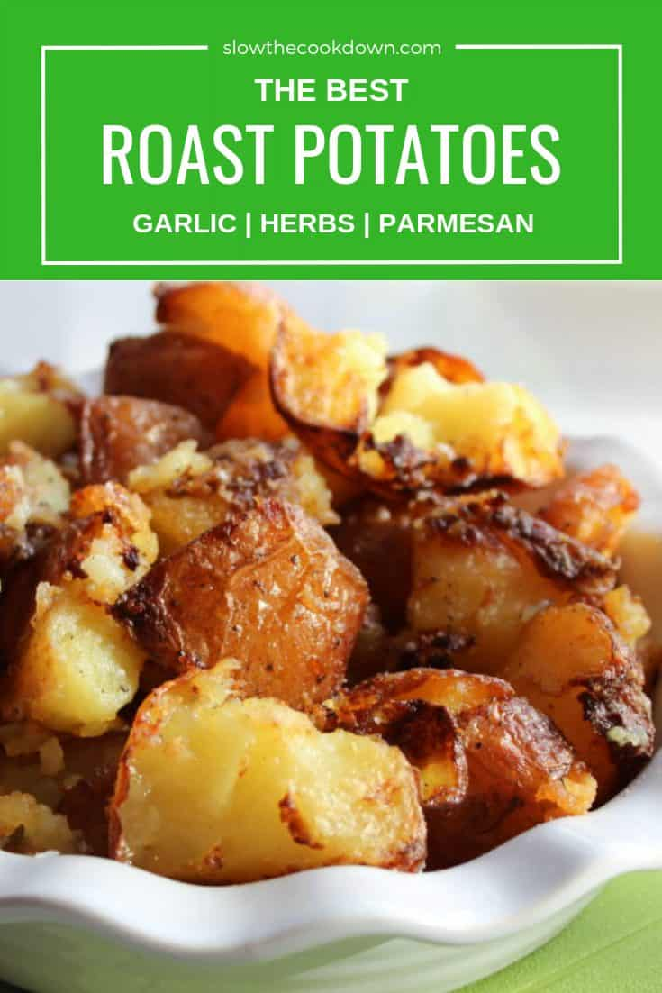 Pinterest image - close up of roast potatoes with text