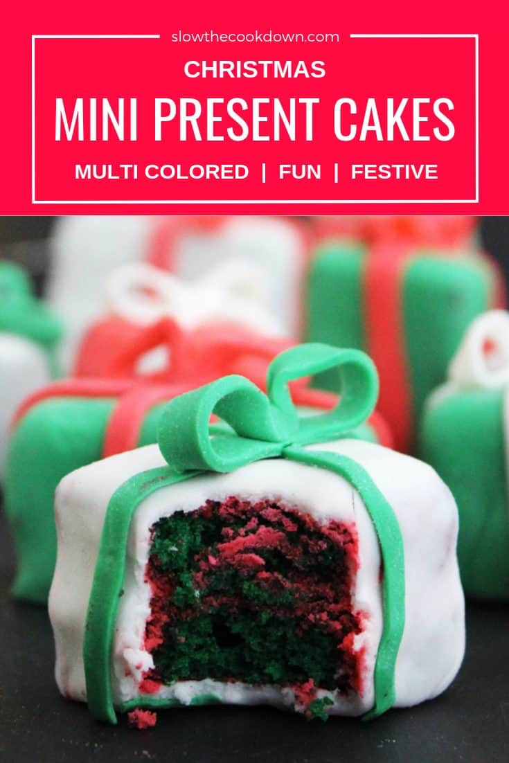 Pinterest image - close up of a mini Christmas cake with text