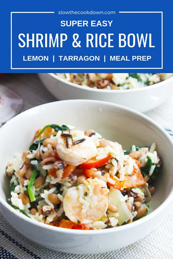 Pinterest image with text 'shrimp and rice bowl'