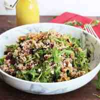 Brown rice salad in a large serving bowl