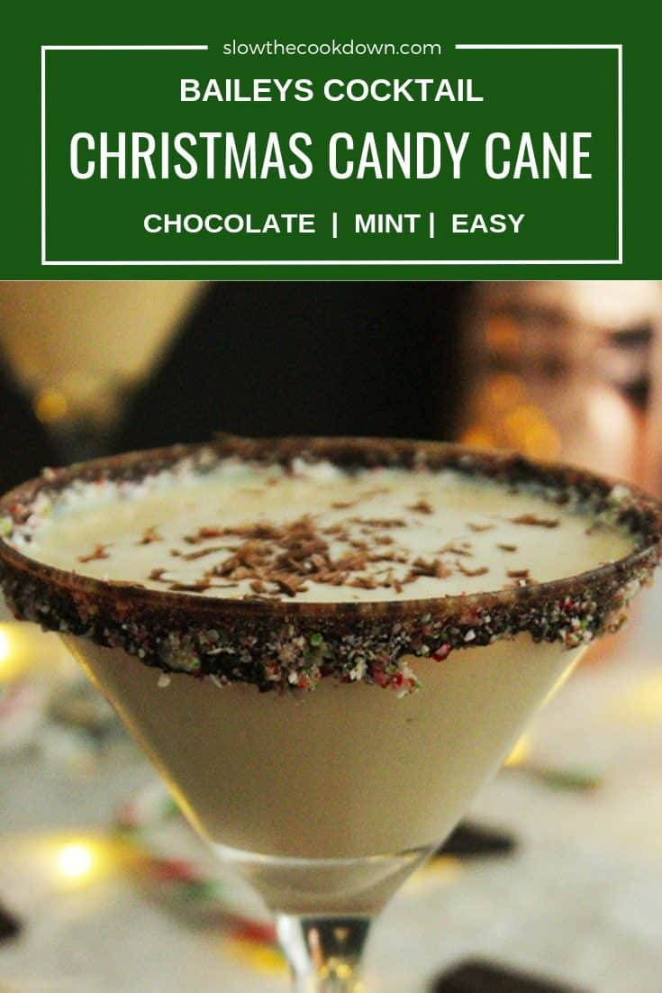 Pinterest image - Close up of a Christmas Candy Cane Cocktail with a text overlay