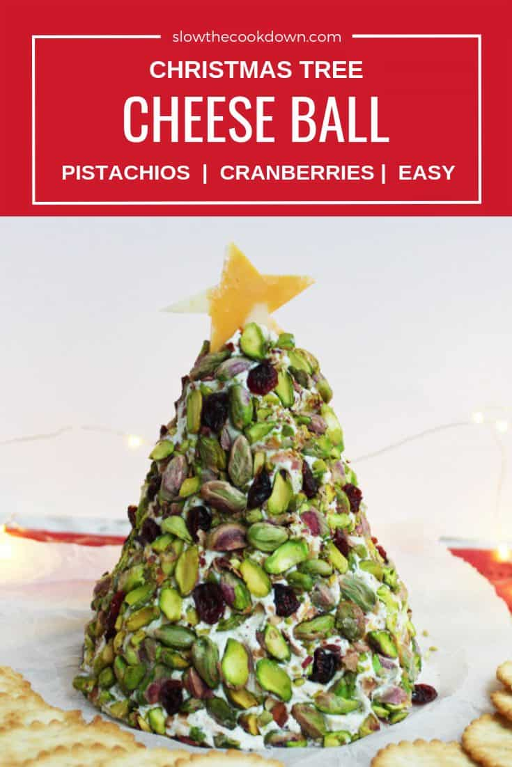 Pinterest collage - a Christmas tree cheese ball with text