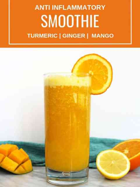 Pinterest image. Smoothie on white background with text overlay