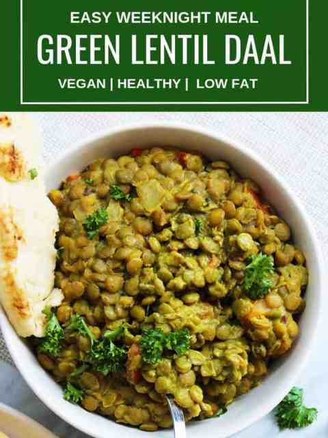 Pinterest image. Top shot of a bowl of green lentil daal with text overlay