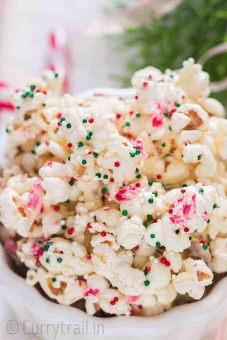 Close up of Christmas popcorn