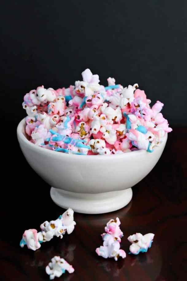 Unicorn popcorn in a white bowl