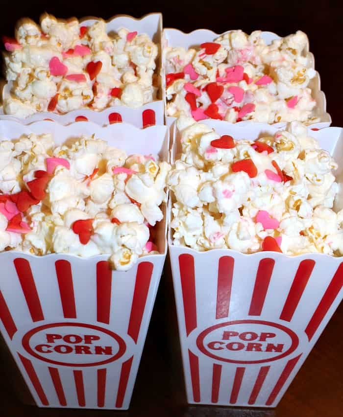 Valentines day popcorn in card containers
