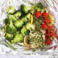 close up top down shot of meal on tin foil