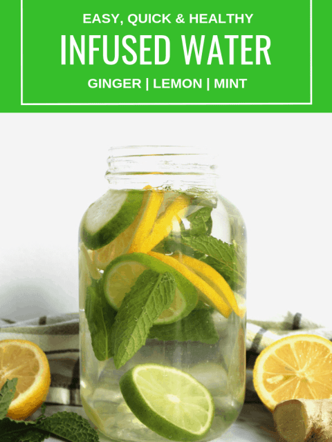 Pinterest image. A mason jar of infused water with text overlay
