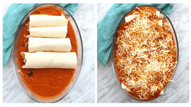 Process collage. Enchiladas in a casserole bowl before and after sauce is added