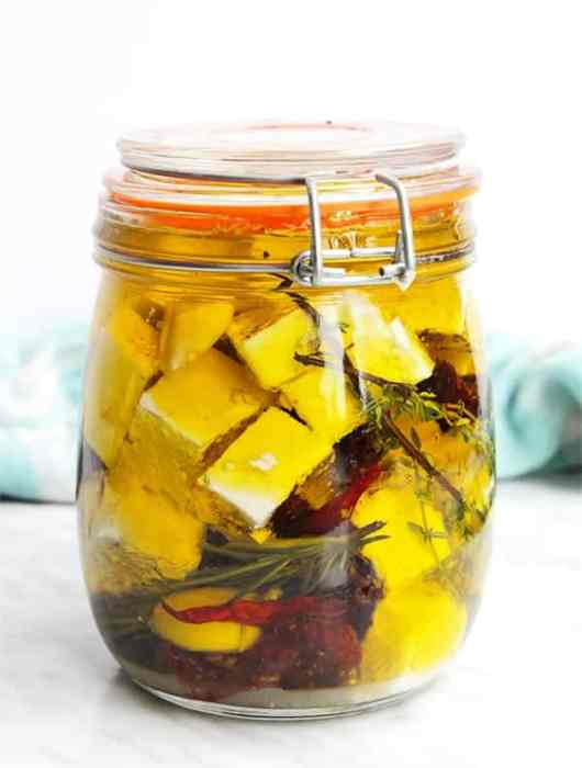Marinated feta in a glass jar