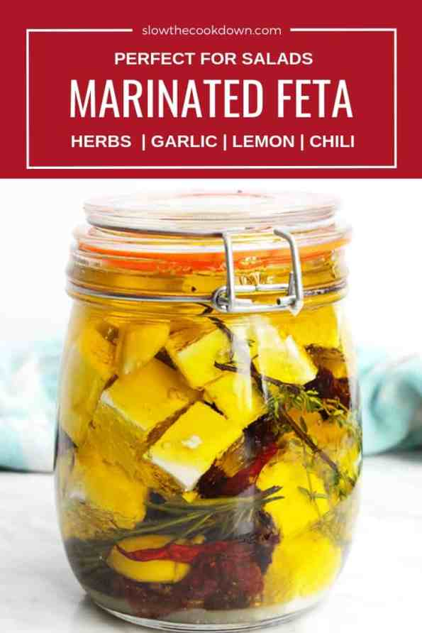 Pinterest image. Marinated feta in a glass jar with text overlay