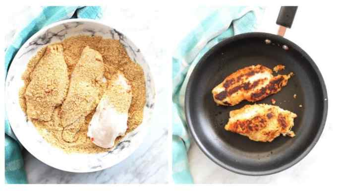 Process shot. Chicken being breaded and fried.