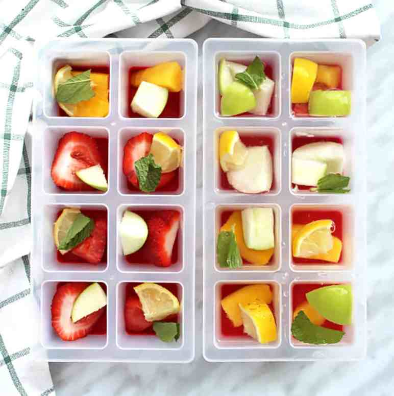 Ice cubes filled with fruit
