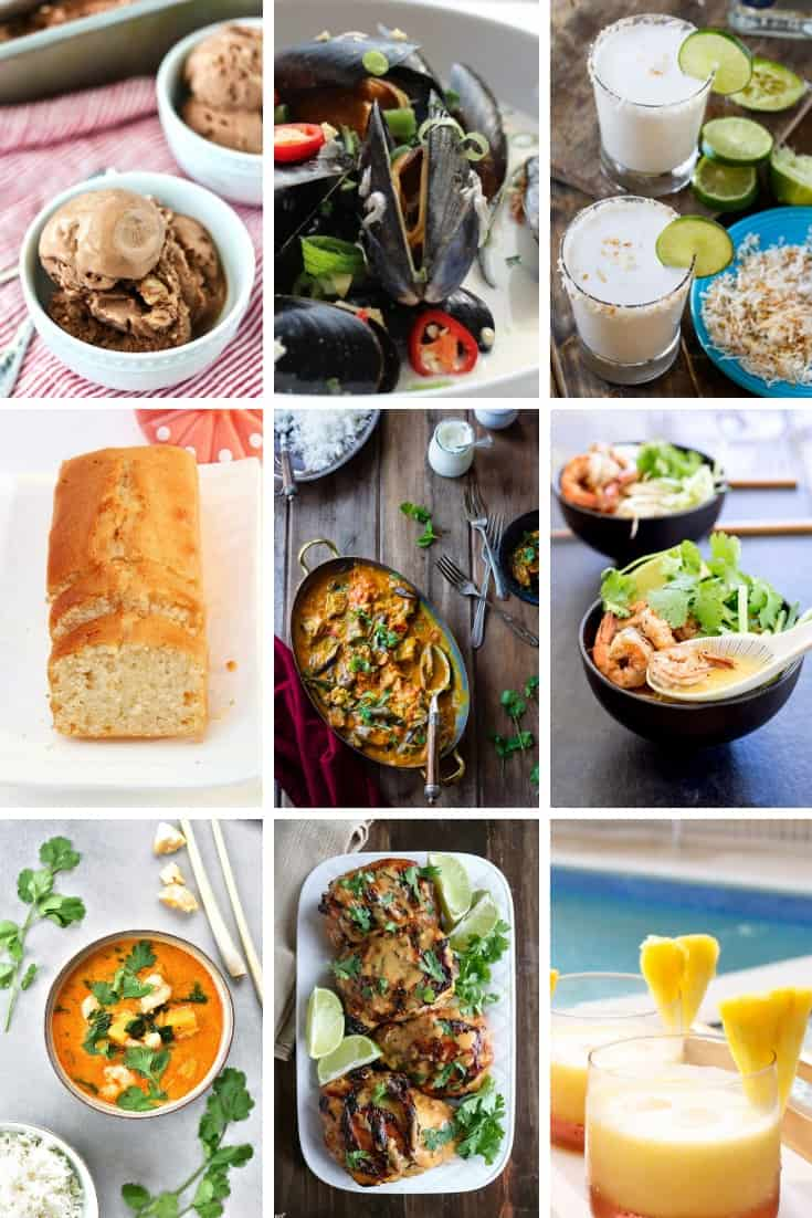 Collage showing different coconut milk recipes featured in the article