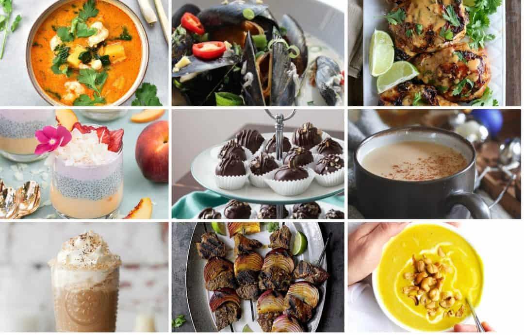 Collage of nine coconut milk recipes