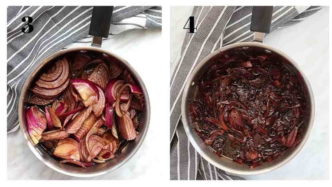 Two shots showing the red onions before and after cooking