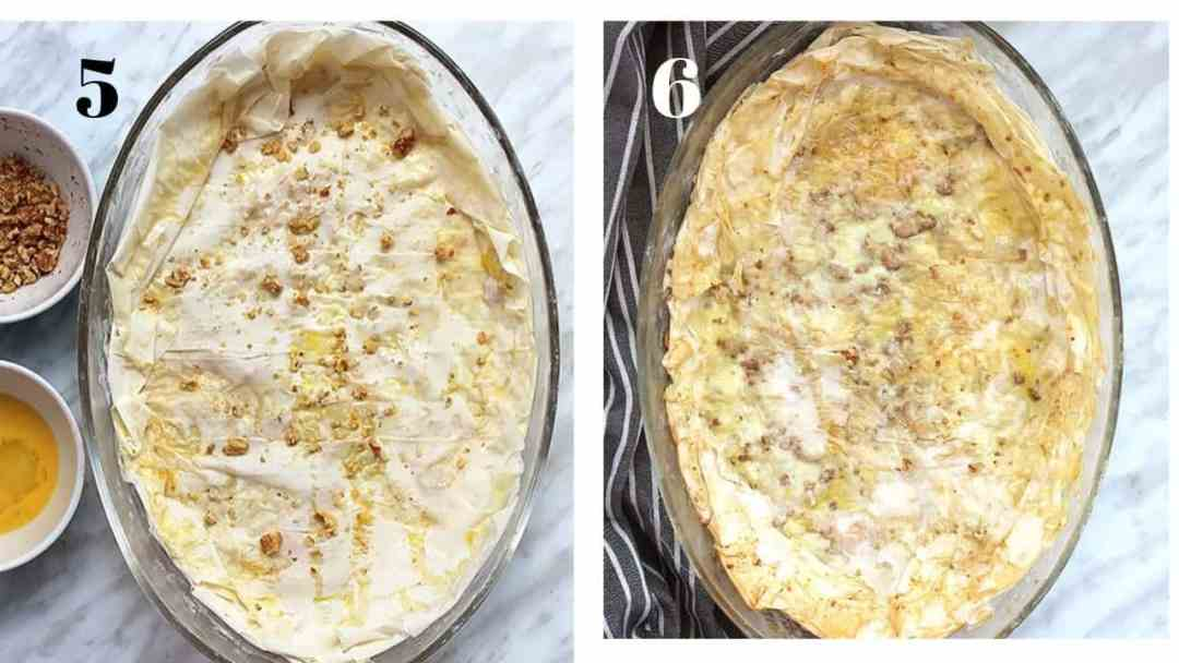 Two process shots to show how to make the filo pastry - before and after cooking