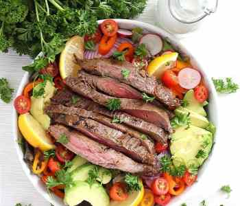Steak salad before being dressed