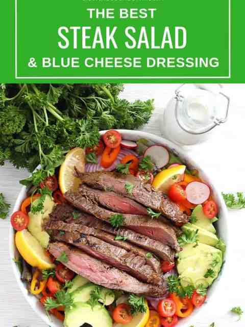 Pinterest graphic of the steak salad with text overlay