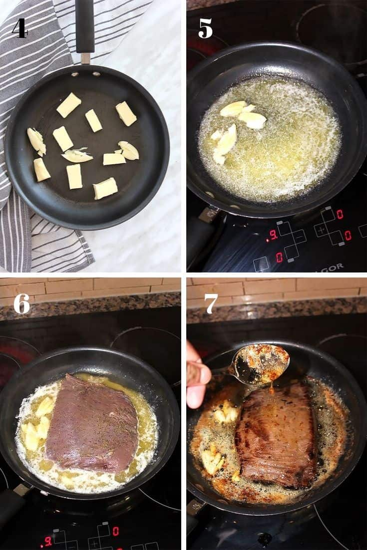 Four process shots to show how to cook the flank steak