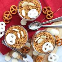 Chocolate Pots with a Pretzel Topping