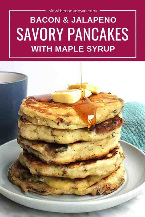 Pinterest graphic. A stack of savory pancakes with text overlay