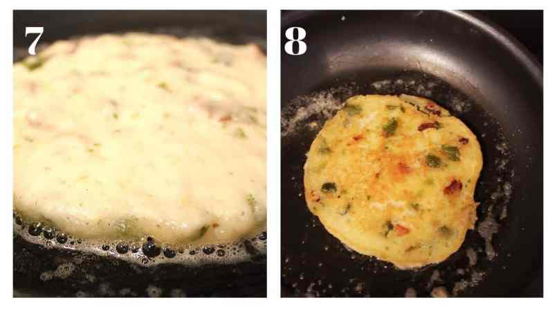 Two photographs to show the pancakes cooking in a frying pan
