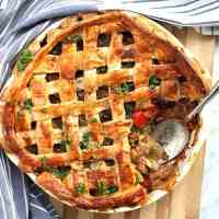 Close up of the baked chicken and chorizo pie